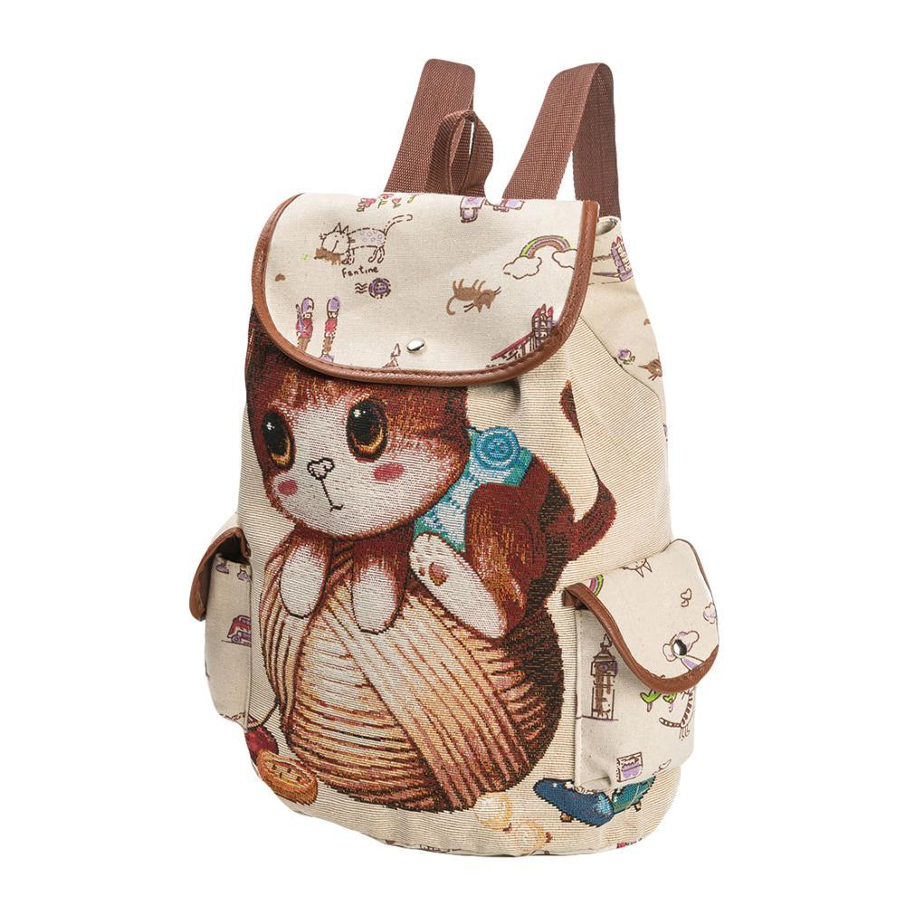 2ba682a1cb0 Woman Backpack Cute Cat Embroidery Large Capacity Leisure Travel ...