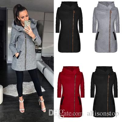Women Cardigans Casual Jackets Fashion Plus Velvet Outwear Coat for Women Side Zipper Hooded Jacket Winter Red Coats Plus Size 5XL Black