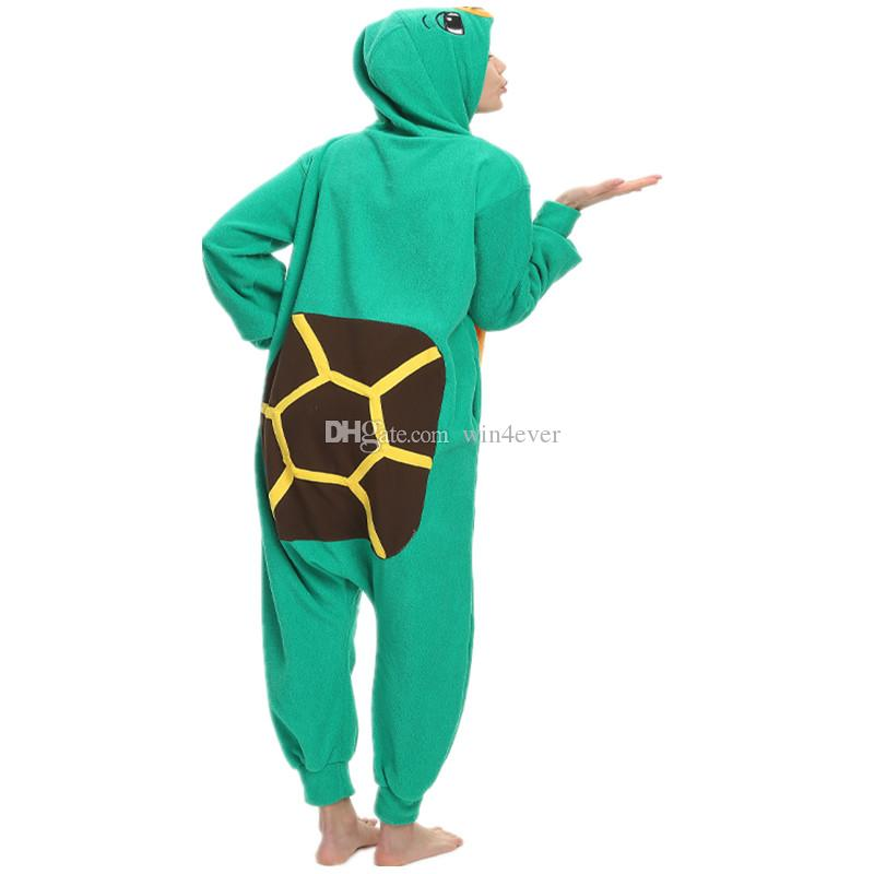 Adult Polar Fleece Kigurumi Tortoise Costume Women Men Cosplay Onesie Pajamas For Halloween Carnival Party Jumpsuit