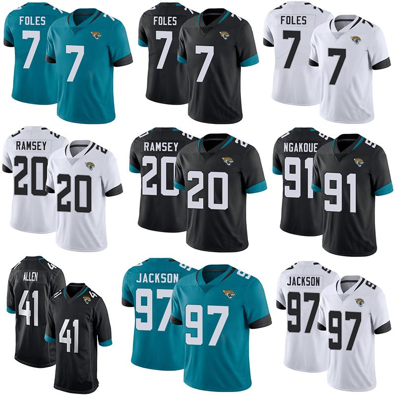13d47032076 Football Jerseys 19 20 Jacksonville 7 Nick Foles Black Jaguars 20 Jalen  Ramsey 91 Yannick Ngakoue Stitched Untouchable Limited Jersey Online with  ...