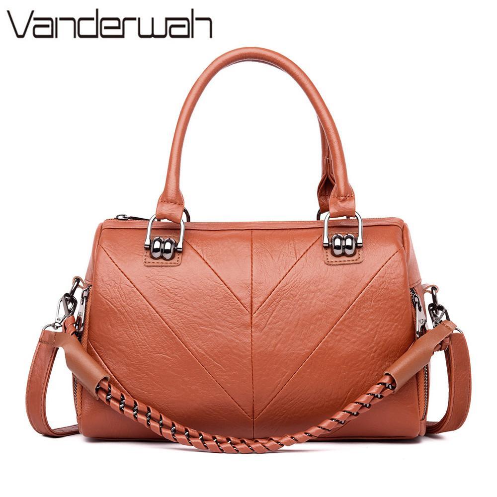 d1076568f78 2019 Ladies Rope Hand Bag Leather Luxury Handbags Women Bags ...