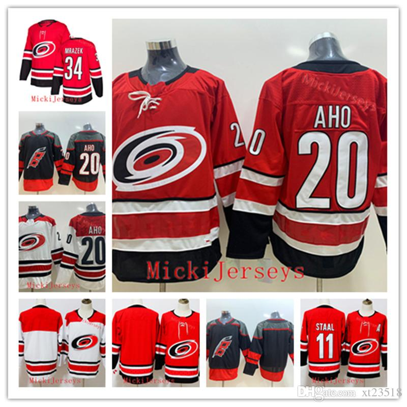 info for 43c09 5b634 Mens Carolina Hurricanes 34 Petr Mrazek Jersey Stitched home red away white  #11 Jorda Staal #20 Sebastian Aho Carolina Hurricanes Jersey