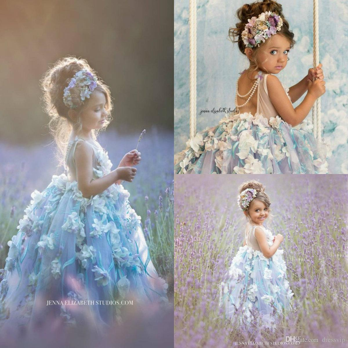 8ec425df Cute Flower Girl Dresses For Wedding Jewel Neck Lace 3D Floral Appliqued A  Line Puffy Girls Pageant Dress Baby First Communion Gowns Special Occasion  ...