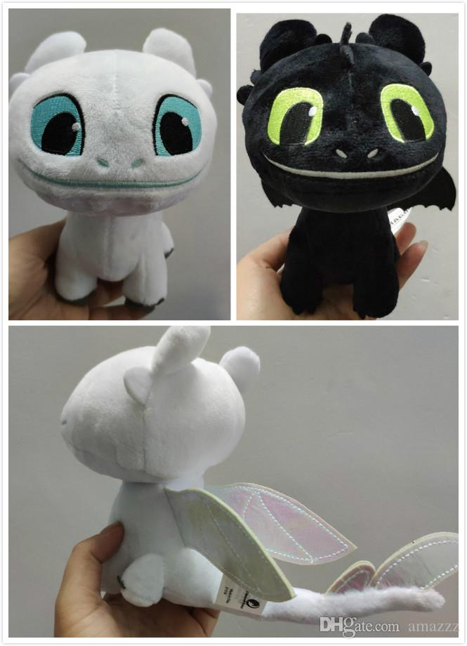 16cm (6.3 inch) How to Train Your Dragon 3 Plush Toy Toothless Light Fury Soft Dragon Stuffed Animals Doll 2019 New Movie 2 Colors