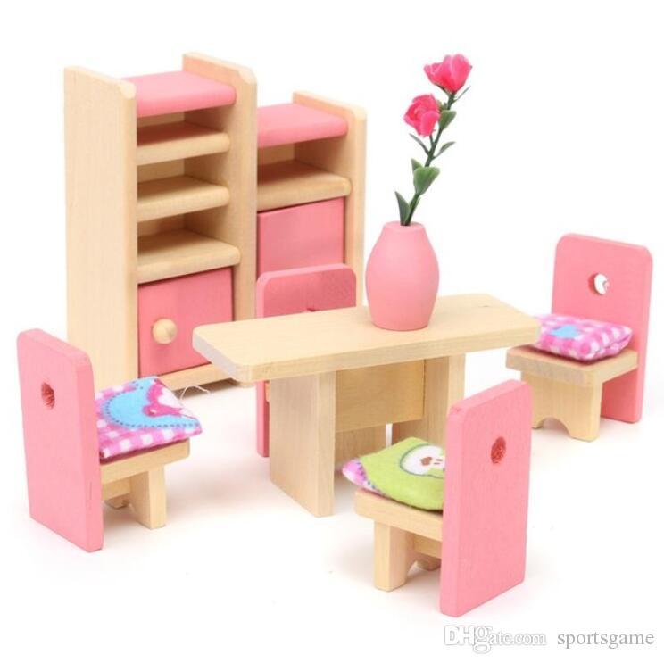 Großhandel Holz Pretend Spielzeug Spielhaus Möbel Miniatur Bett ...