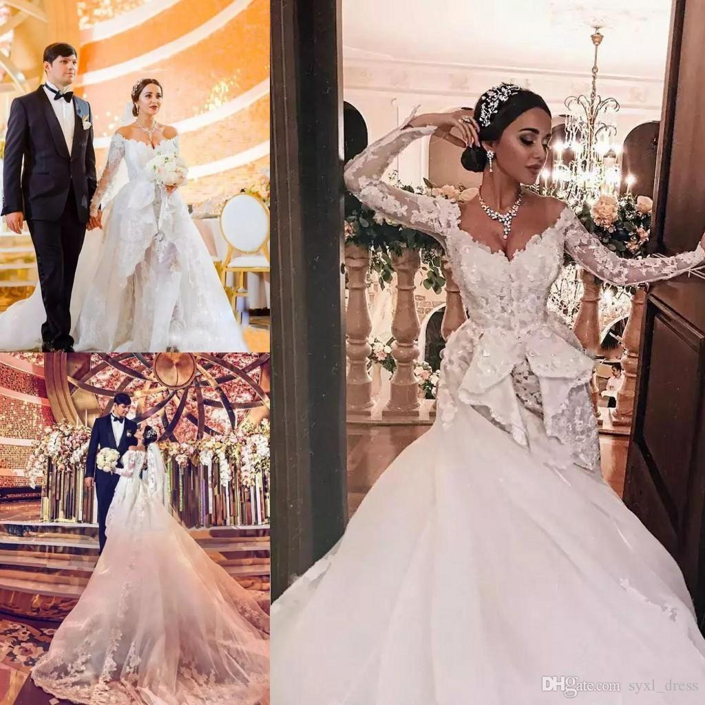 5c9960c6c58 Vintage 2019 Middle East Long Sleeve Plus Size Mermaid Wedding Dress With Detachable  Train Cheap Lace Wedding Dresses Bridal Gowns Vestidos Mermaid Gown ...