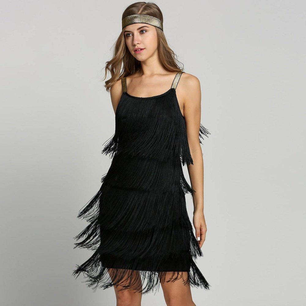e8085cd8f41 Vintage Vestido 1920s Flapper Girl Fancy Dress Great Gatsby Dress Costumes  Slash Neck Tiered Fringe Swing Party Dress Headband Y19041801