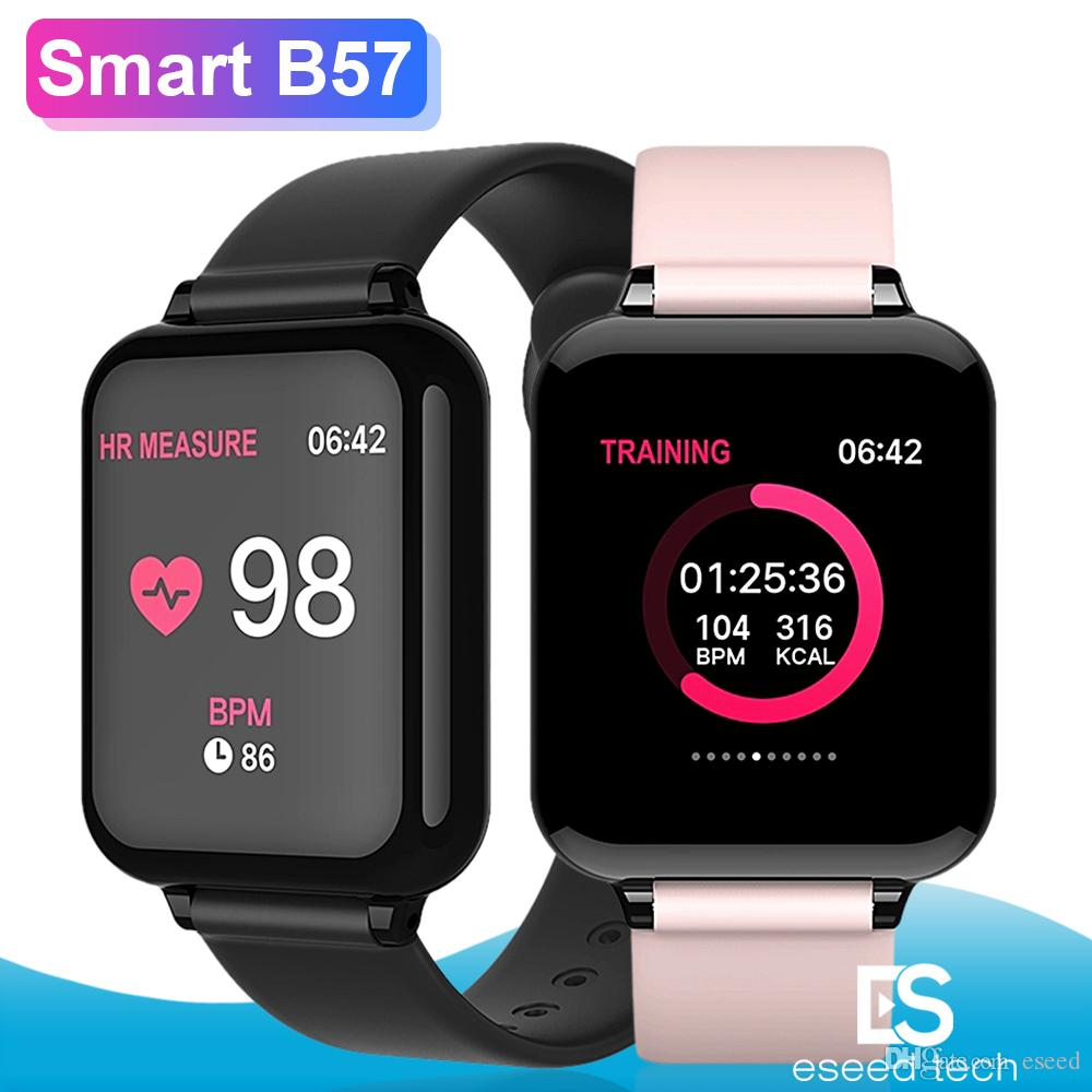 2019 New Bracelet Band Smart Watch Men Waterproof Heart Rate Monitor Blood Pressure Sport B57 Smartwatches Women For ios Android Huawei