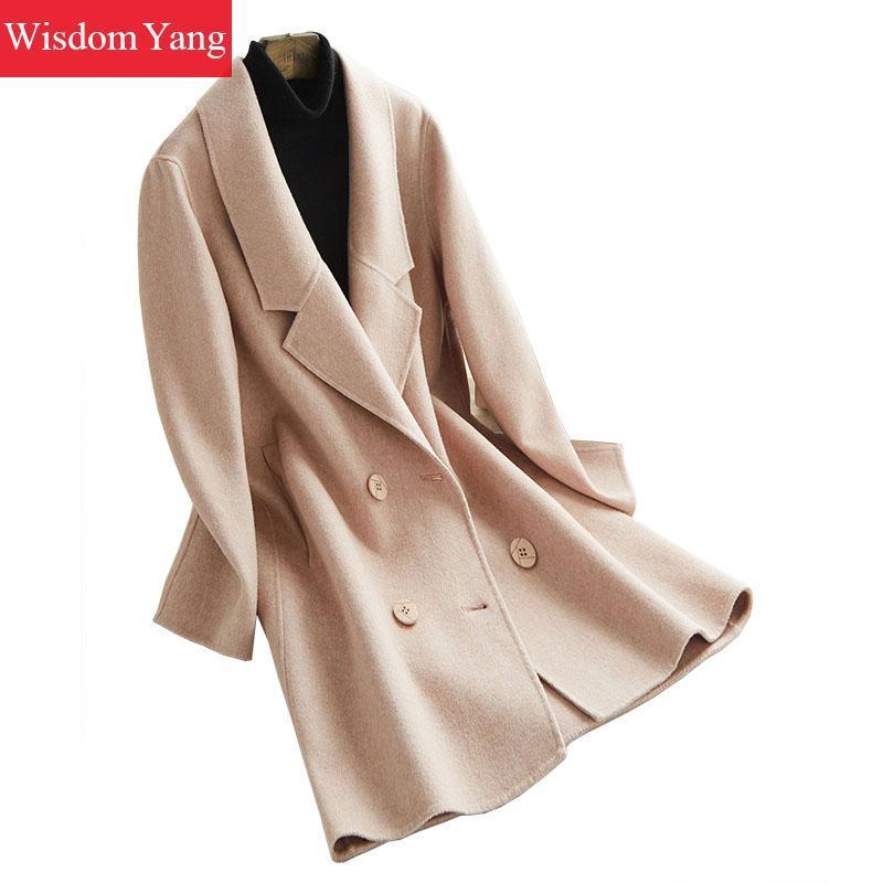 d0dc0261db4300 Großhandel Elegante Winter Warme Mantel Rosa Gestreifte Schafwolle ...