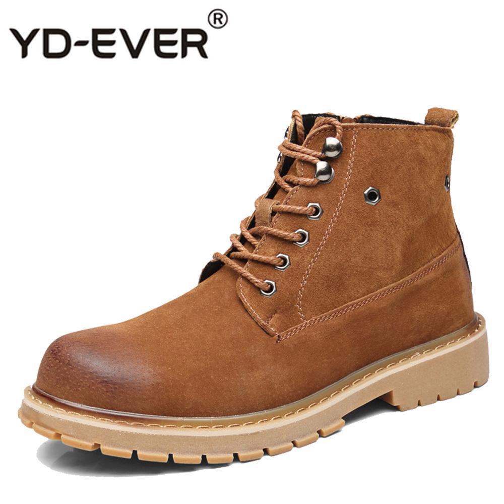 42750430 Compre YD EVER Botas Para Hombre Estilo De Cuero Genuino Con Cordones  Zapatos Para Hombre Moda Casual Otoño Invierno Botines De Trabajo A $60.17  Del Backyar ...
