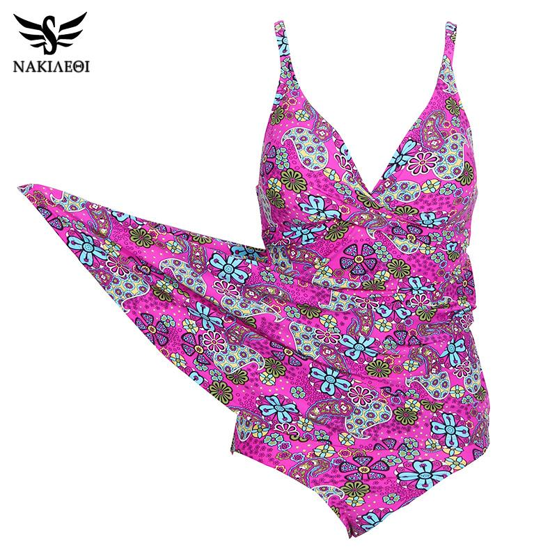 NAKIAEOI 2018 Sexy One Piece Swimsuit Women Swimwear Print Swimming Suit For Women Beachwear Dress Tankini Bathing Suit Swim XXL