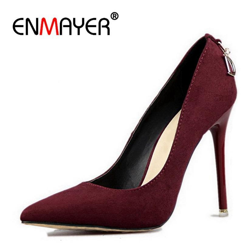 c282b5cd1 Compre Sapatos ENVELY Stiletto Heels Mulher Tamanho Grande 2019 Moda De  Salto Alto Mulheres Bombas Clássico Branco Bege Vermelho Sexy Casamento  CR472 De ...