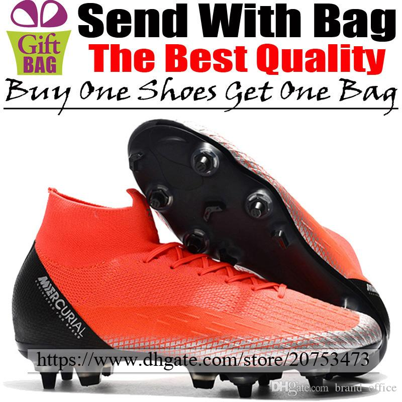 buy popular 192e7 03fd3 Cheap Mercurial Superfly CR7 VI SG ACC Football Boots Socks Soccer Shoes  Cristiano Ronaldo Outdoor High Top Football Cleats Red Black Silver