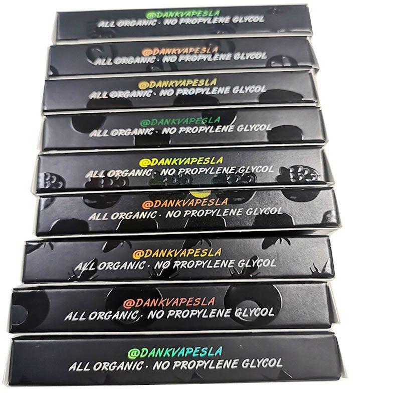Dank Vapes Cartouches 0.8ml 1ml Stylos à vape jetables vides Cartouches à huile de fil 510 Chariots à vape Cigarettes électroniques avec boîte d'emballage holographique