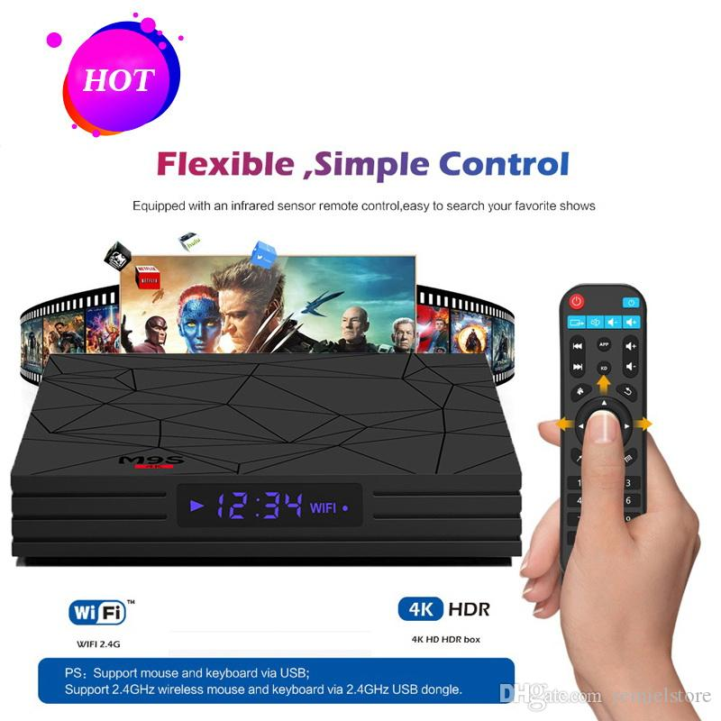 Android 7.1 Quad Core TV Box 2GB 16GB M9S W5 Amlogic S905W Streaming Media Boxes televisión Reproductor Set Top Box H.265 3D 4K Media Player