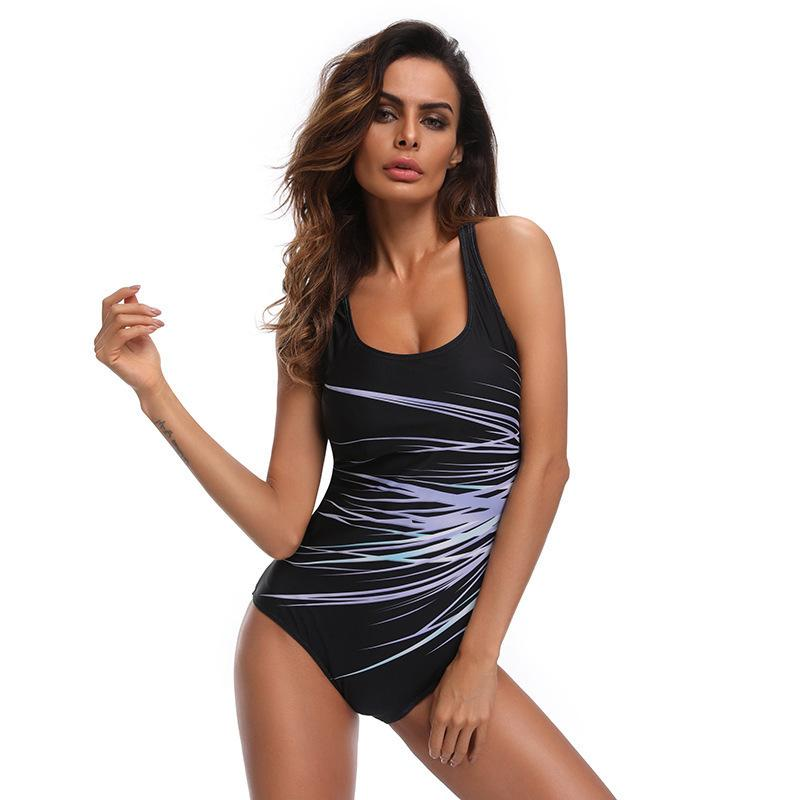 Women Swimwear One Piece Rash Guards Plus Size Print Colorblock Swimsuit Bathing Suit Monokini Striped Wetsuits Beachwear