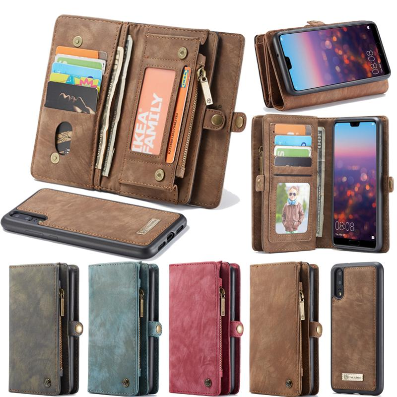 another chance 0a803 c9b69 Original CaseMe Wallet Case For Huawei P20 Lite Genuine Leather Case For  Huawei P20/ Pro Vintage Magnetic Detachable Back Cover