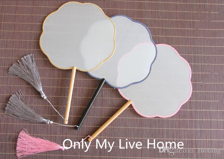 Personalized Ancient Circle Chinese Fan DIY Bridal Silk Hand Fan Long Birch Handles White Blank Fan Adult Fine Art Painting