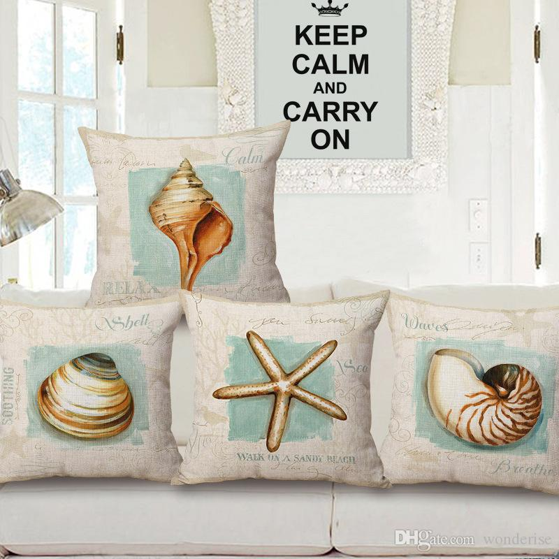 5 Styles Retro Vintage Sea Life Cushion Covers Conch Shell Starfish Light House Marine Cushion Cover Decorative Linen Pillow Case