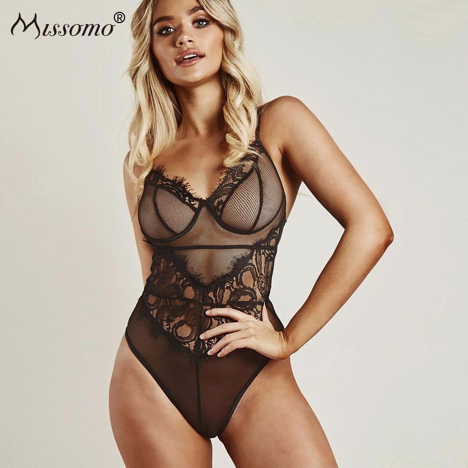 79eaa5e98e95 Compre Missomo Off Hombro Top Mujeres Transparente Sexy Stripper Total De  Encaje Tallas Grandes Body Body Shorts Body Playsuit Jumpsuit Y190424 A  $18.16 Del ...