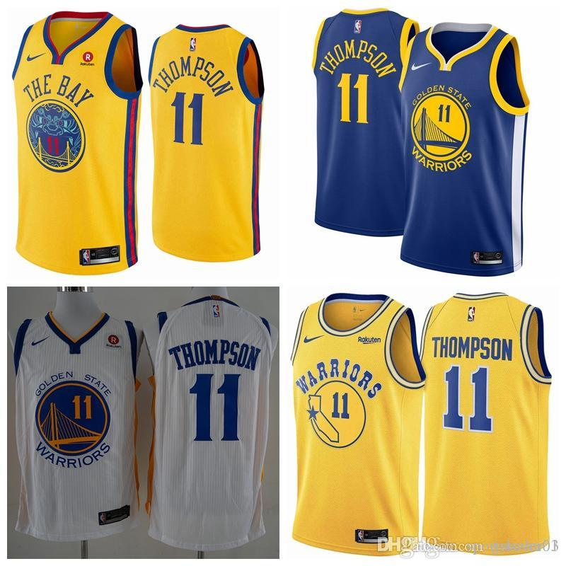 new product d6be5 08062 2019 Mens Golden States Jersey Warriors 11 Thompsons Basketball Jersey  Stitched New City Jersey Thompsons Warriors Basketball Shorts
