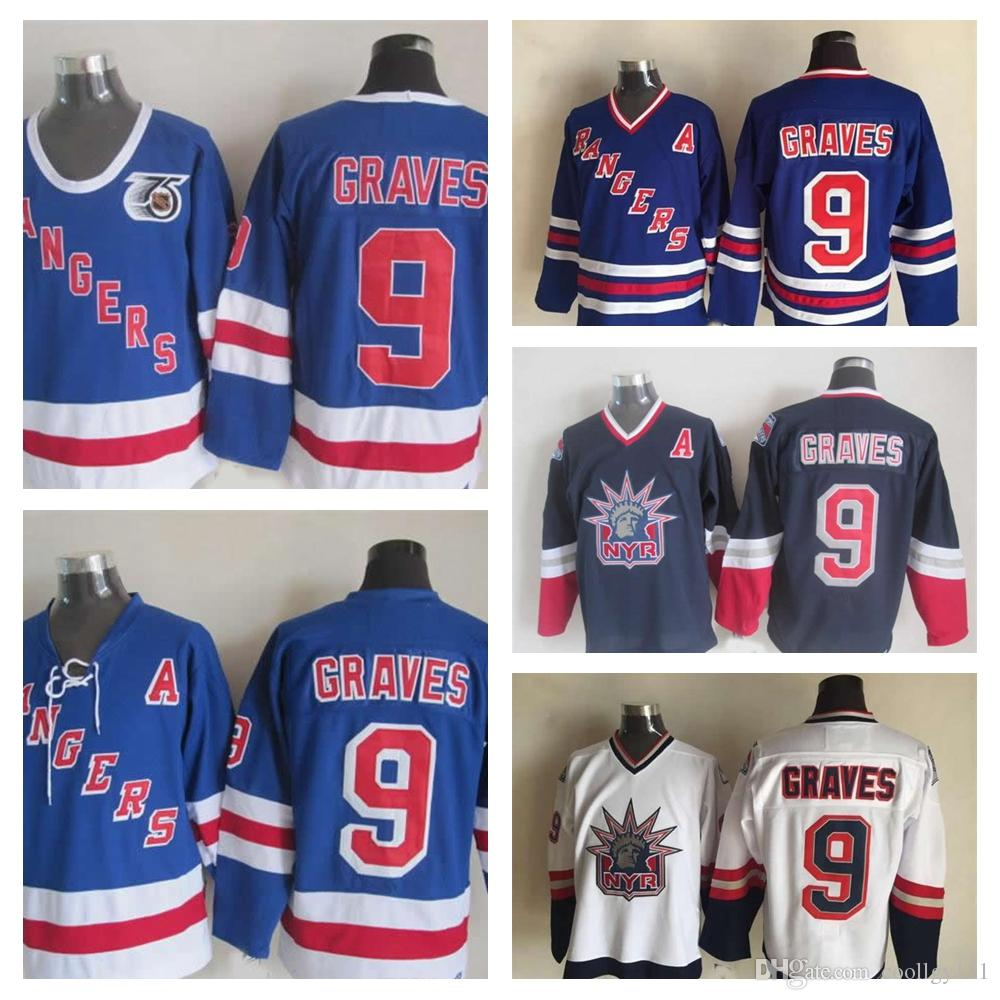 2019 1998 Liberty Vintage  9 Adam Graves Jerseys Mens 1991 75th 9 New York  Rangers Adam Graves Hockey Jersey Top Quality Stitched A Patch From  Coollgy121 c8c09c29c