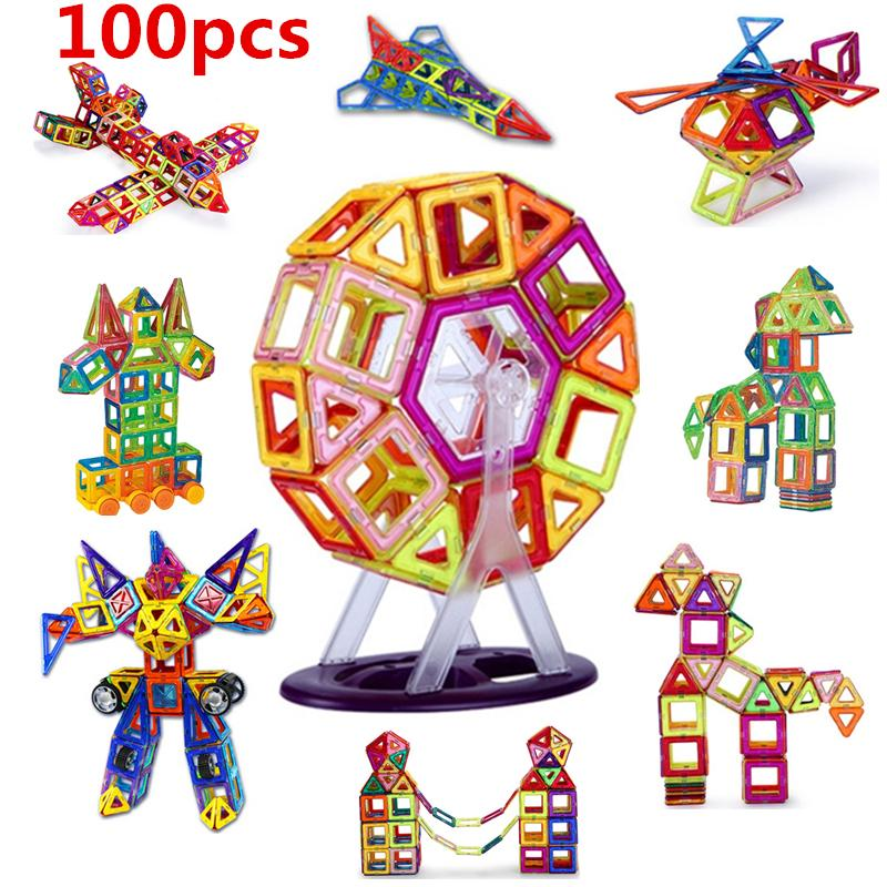 100PCS Mini size Magnetic building blocks construction toys for kid Designer magnetic toys Magnet model building toys enlighten