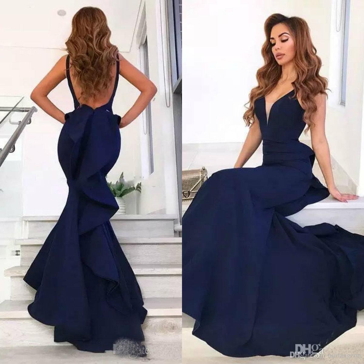9f3501dc7 Últimas Vestidos de fiesta azul marino Vestidos largos de cuello en V sin  respaldo Volantes Tren Sirena Vestido de noche Vestidos de fiesta formal ...