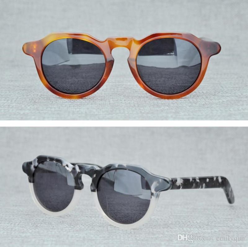 073853a95d Compre Marca Vintage Gafas De Sol Redondas LA MÁSCARA Hombres Gafas De Sol  Polarizadas Mujeres Retro Gafas De Sol De Alta Calidad De Tablones Hechos A  Mano ...