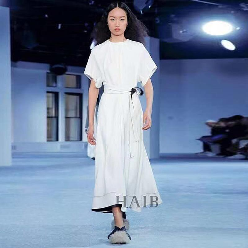 aa87880981696 Long Dress Runway Designer High Quality 2019 Summer New Women s Fashion  Party Work Sexy Vintage Elegant Chic Belt White Dresses