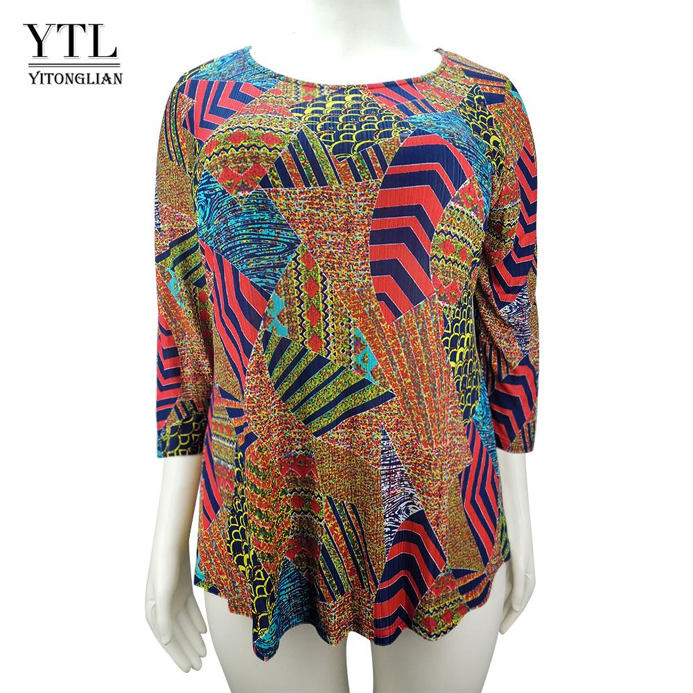 Ytl Woman Boho Plus Size T Shirt 3/4 Sleeve O Neck Tunic Top Kimono Print Pattern Oversized T-shirt Women Casual Tops Shirt H103 Y19072601