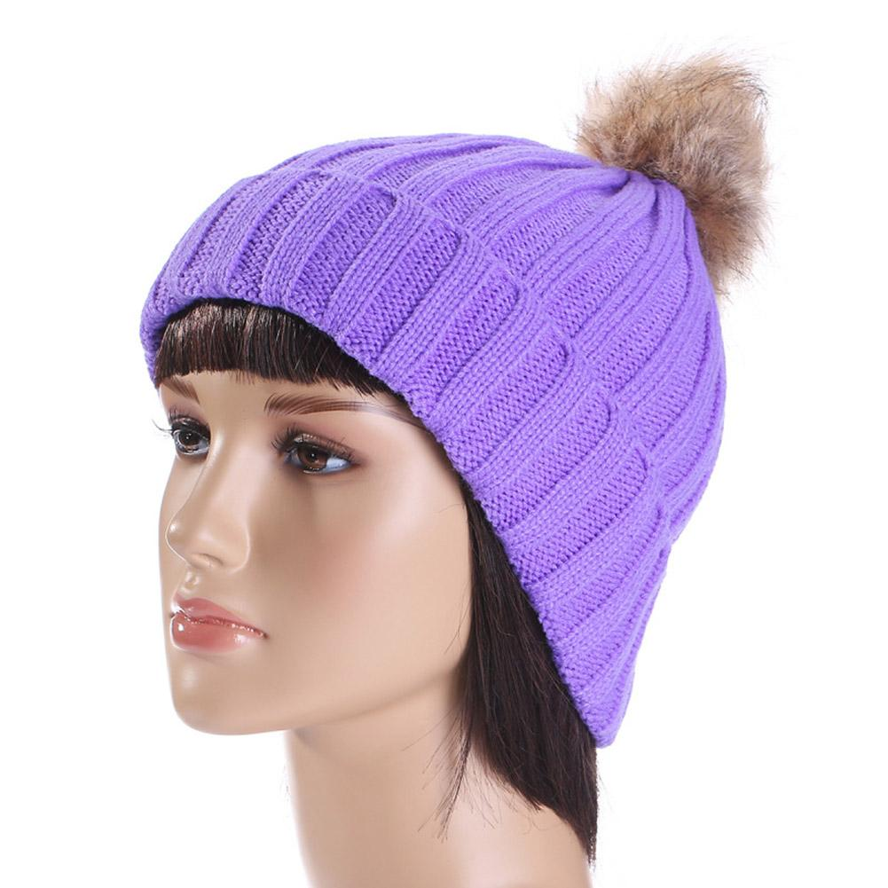 c9907fcd07194 Hot Sale Fur Ball Knitted Warm Hat Winter Hat For Women Girl  S Knitted  Beanies Cap New Warm Fashion Female Cap Cool Beanies Beanie Caps From  Yongq