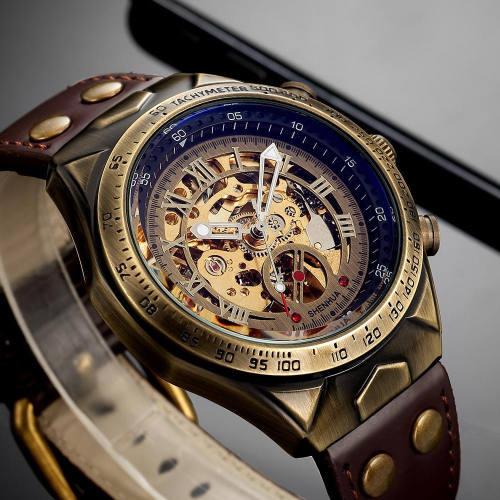 142691909fa2 Compre Moda Steampunk Reloj Mecánico Hombres Vintage Bronce Relojes  Mecánicos Automáticos Relojes Esqueleto Para Hombre Relogio Masculino Reloj  A  55.16 Del ...