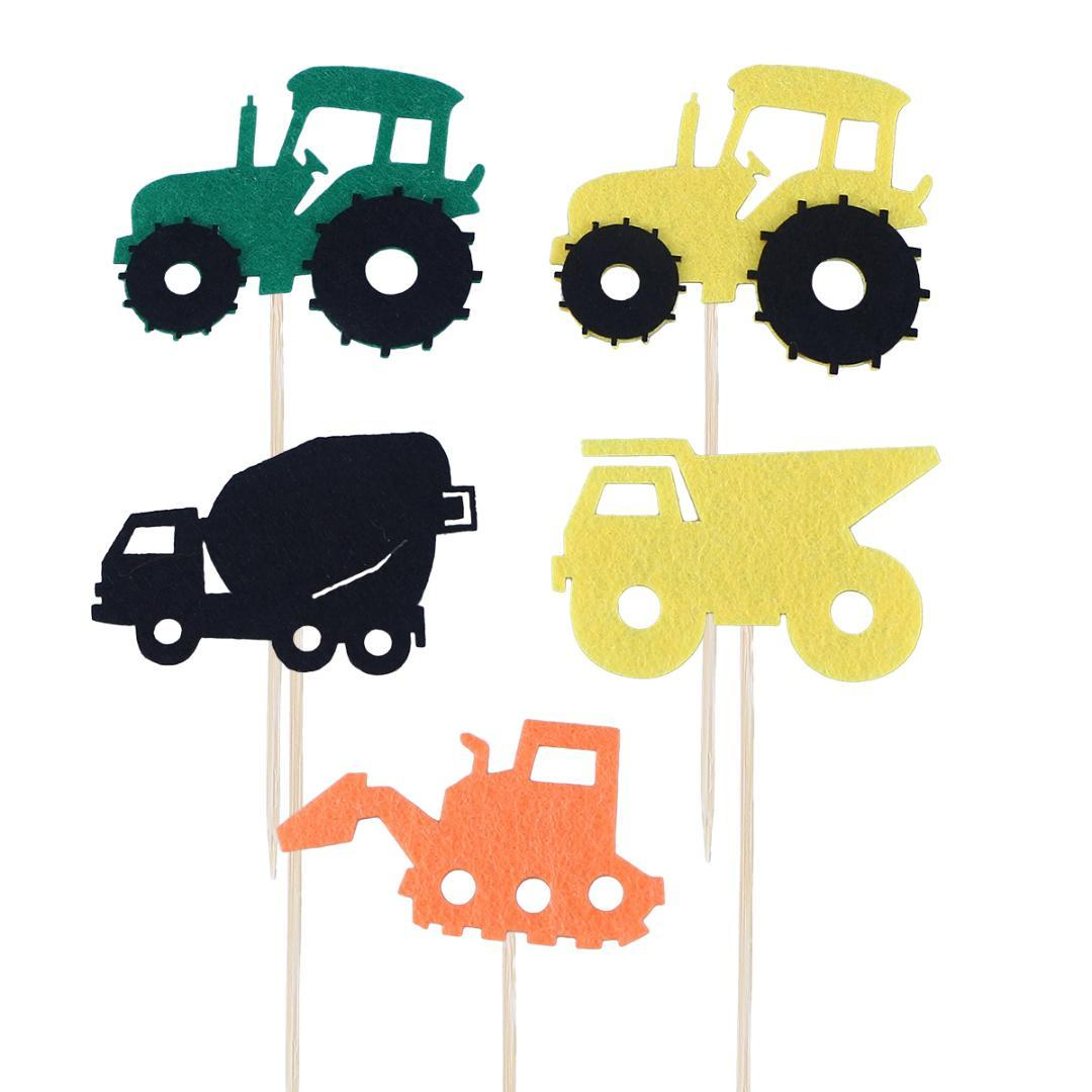5pcs Cartoon Car Cake Topper Dessert Cupcake Toppers Cake Decorating Topper Insert Picks For Baby Shower Kids Birthday Boys Girl