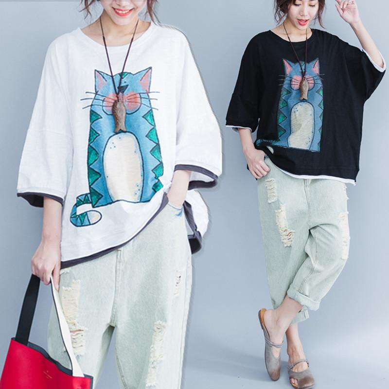 fa84c4d26a0 2019 Big Size 5xl Summer Women Cute Fashion Cat Print Cotton Tops Tee Ladies  Female Plus Large Oversize Loose T Shirt Femme Blusas C19041001 From  Lizhang03, ...