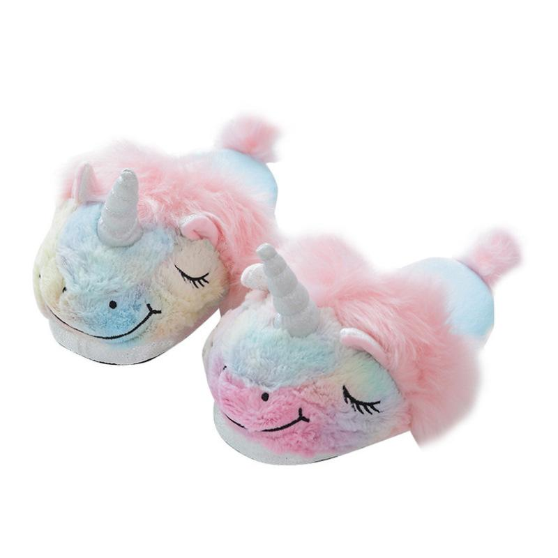 new cute colorful velvet unicorn plush shoes women home indoor winter rainbow unicorn slippers non-slip shoes