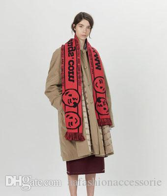 52b6c2271bf7 Acheter Mode Wrap Pour Femmes Homme Lettre Gland Foulard Visage Souriant  Imprimer Géométrique Plus Longue Double Face Jacquard Collier Type Pashmina  Anneau ...