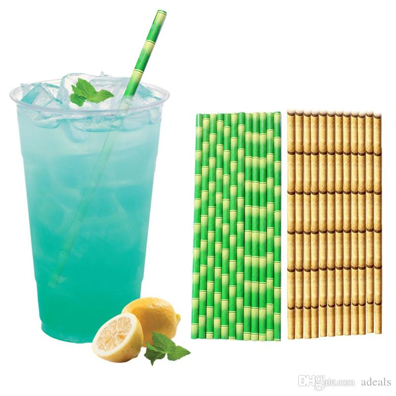 Biodegradable Bamboo Paper Straws Bamboo Straw Eco-Friendly 25Pcs / Lot Party Use bar Straws on Promotion