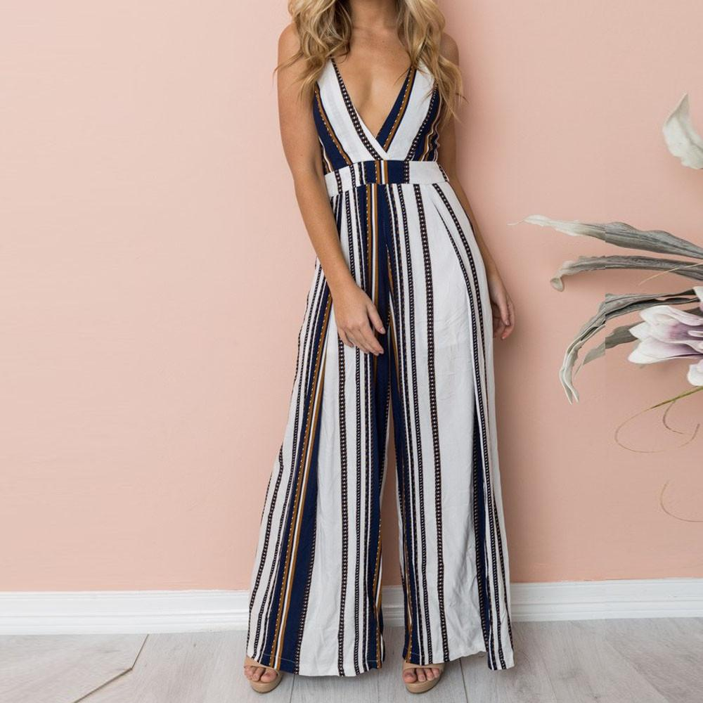 cf54bca8ac9 2019 Summer Jumpsuits Spaghetti Strap Boho V Neck Stripe Print High Waist  Shirred Wide Leg Cami Palazzo Bodysuit Women Playsuit SYS From Blueberry16