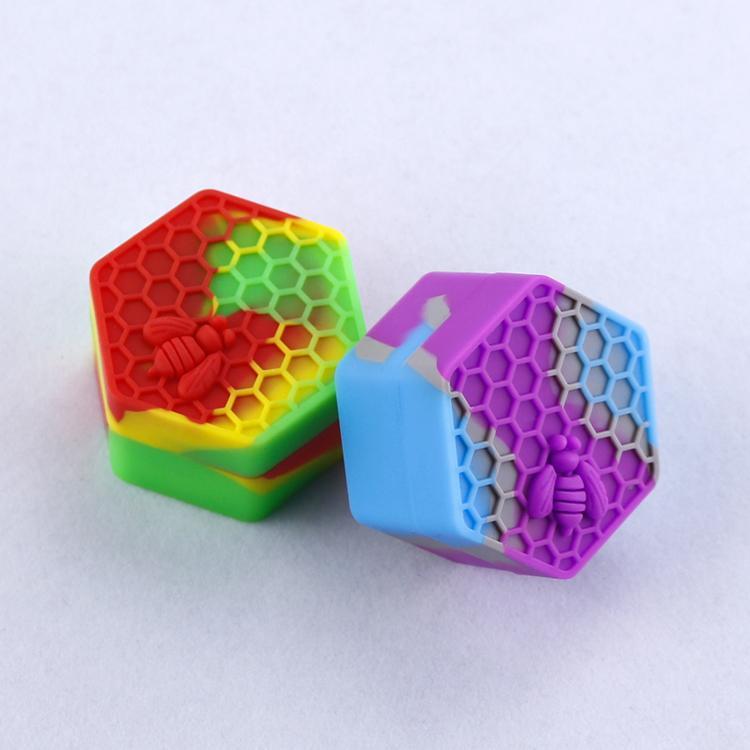 Antiaderente Honeybee cera contenitori 26ml esagono miele ape contenitore silicone uso alimentare vasetti dab stoccaggio vaso portautensile olio vaporizzatore