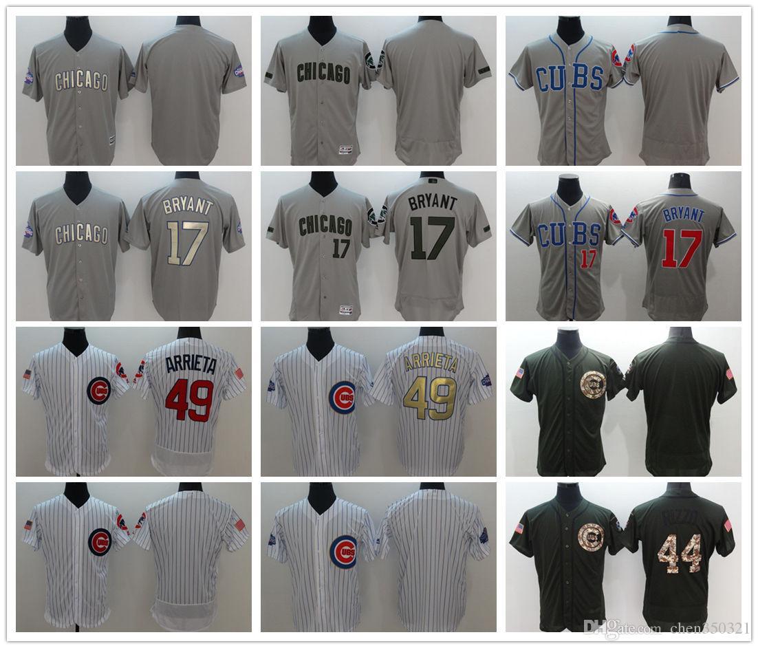big sale 18bb8 f2b66 Mens Chicago Cubs Cool Base Custom Baseball Jerseys #17 Kris Bryant #44  Anthony Rizzo #12 Kyle Schwarber #9 Javier Baez