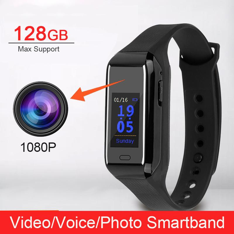 Professional New 1080P HD Video Camera Sound Voice Photo Recorder Cam Sports Step Count Smartband Smart Band Wristband Bracelet