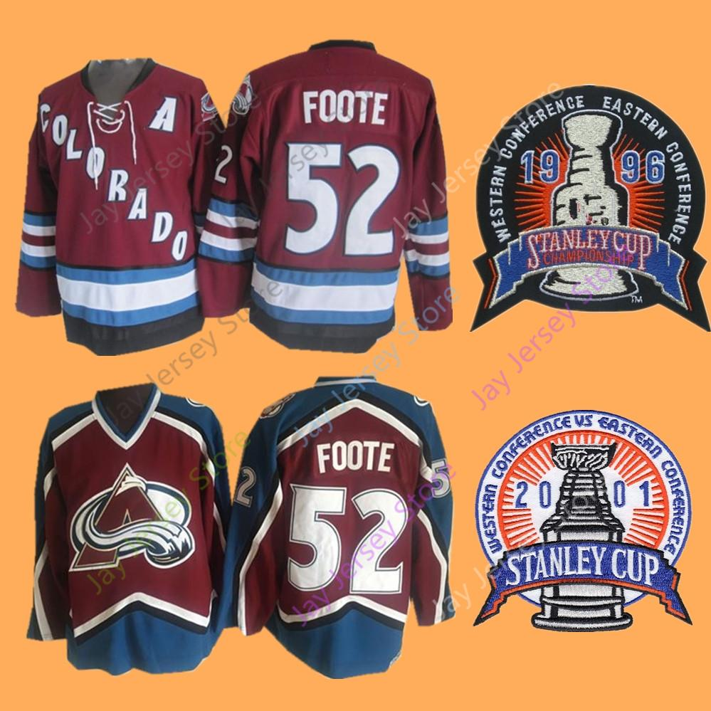free shipping b55a9 1f78e Adam Foote Jersey 1996 2001 Stanley Cup Colorado Avalanche Ice Hockey  Jerseys Home Away Red
