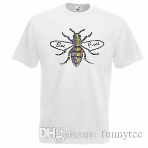 Mens White Bee Free New Gay Pride T-Shirt LGBTQ Printed Top UK