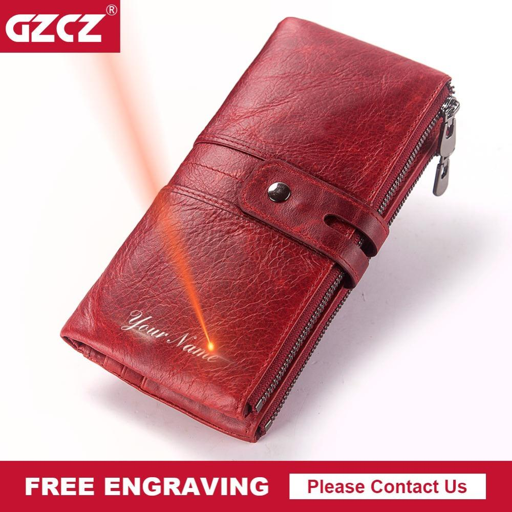 GZCZ Free Engraving Women Wallet Long Zipper Genuine Leather Ladie  Cellphone Clutch Bag With High Quality Card Holder Coin Purse