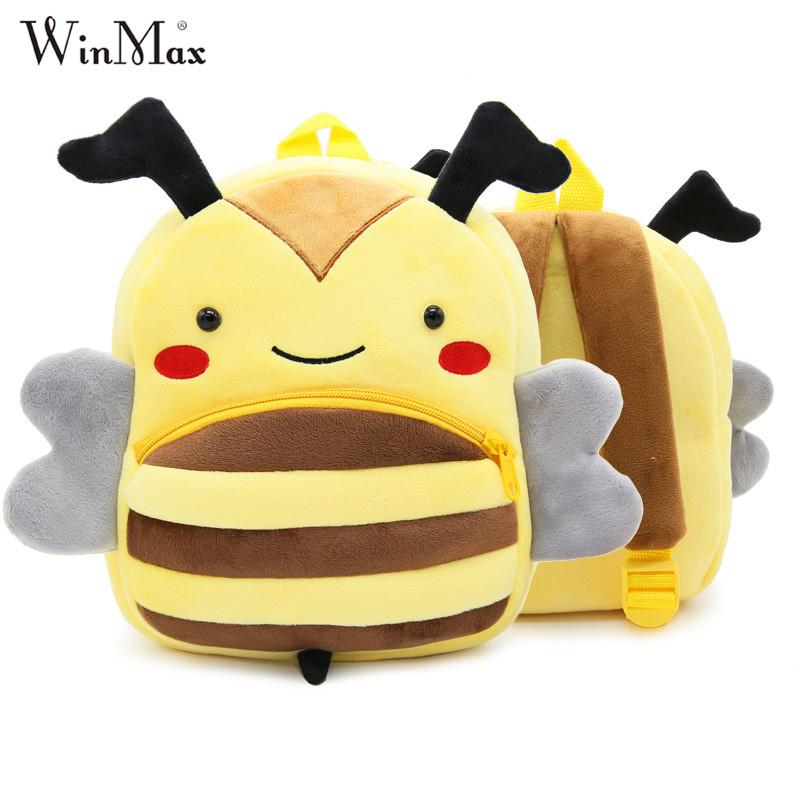 Winmax Cute Zoo Plush School Bags Girls Boys Cartoon Kindergarten Backpack Kids Animal Stuffed Toy Bag Infants panda dog
