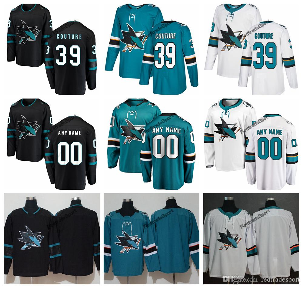 new arrival 63bb3 a11ed 2019 San Jose Sharks Logan Couture Hockey Jerseys Mens New Alternate Black  #39 Logan Couture Stitched Jerseys Customize Name A Patch