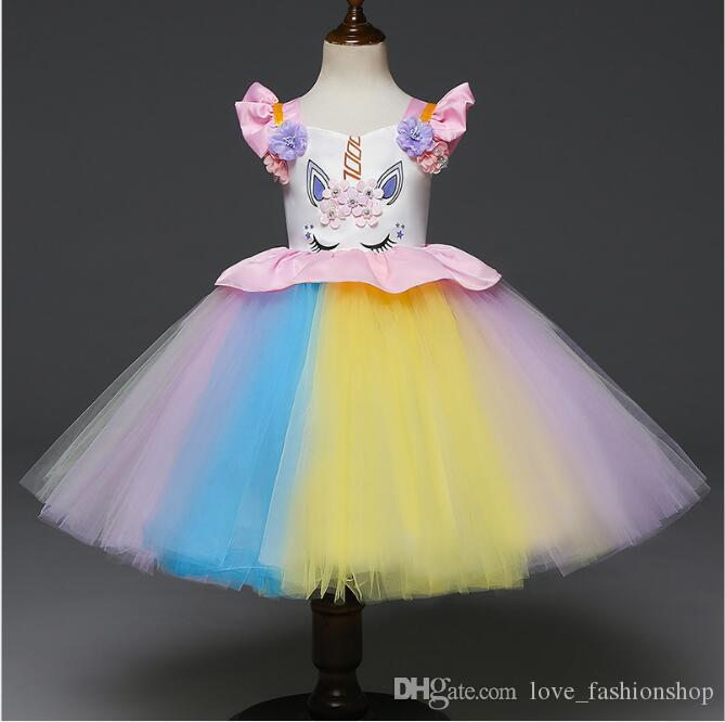 2019girls Rainbow Tutu Skirts Kids Handmade Tulle Pettiskirt Mermaid Flower Swimsuit And Flower Headband Baby Ballet Dance Tutus Mother & Kids