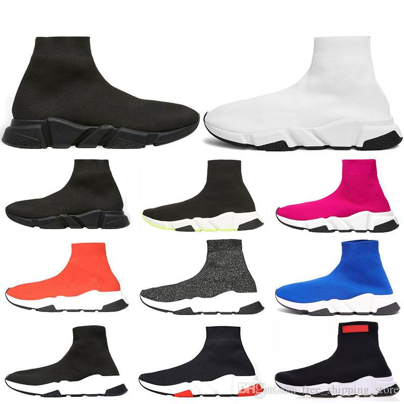 2019 designer socks men women sneakers fashion Shoes black white red glitter green pink Flat mens Trainers Runner casual shoe size 36-45