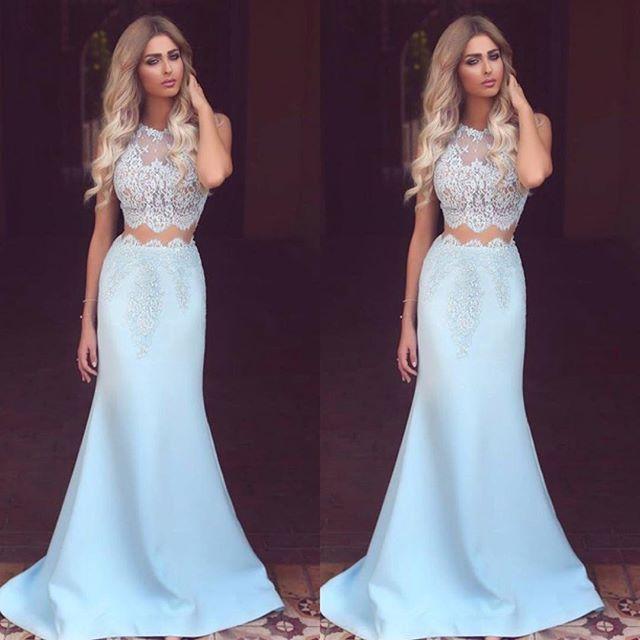 aa94825777b4 Newest Sexy Mermaid Prom Dresses 2019 Jewel Neck Sleeveless Floor Length Lace  Two Pieces Long Evening Dress Robe De Soriee Prom Dress Ideas Prom Dress ...
